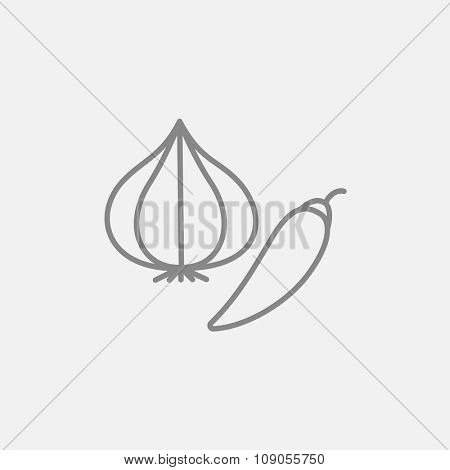 Garlic and chilli line icon for web, mobile and infographics. Vector dark grey icon isolated on light grey background.