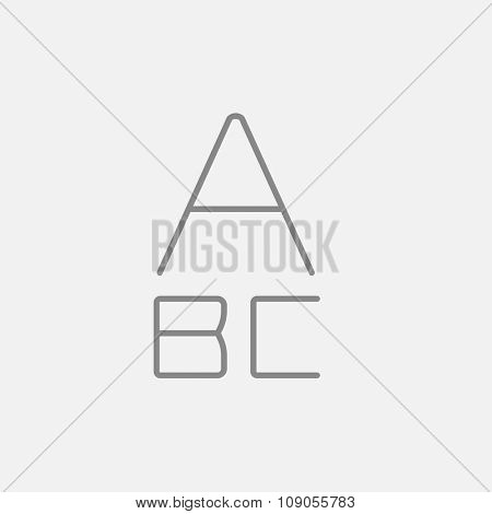 Letters painted in bold line icon for web, mobile and infographics. Vector dark grey icon isolated on light grey background.