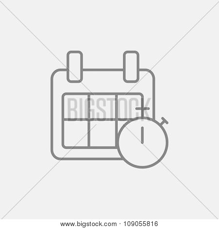 Calendar and stopwatch line icon for web, mobile and infographics. Vector dark grey icon isolated on light grey background.