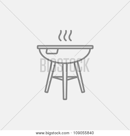 Kettle barbecue grill line icon for web, mobile and infographics. Vector dark grey icon isolated on light grey background.
