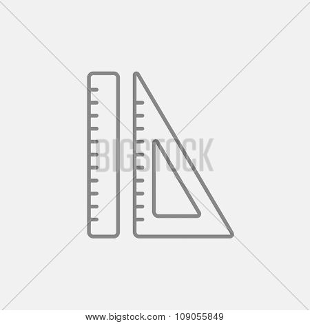 Rulers line icon for web, mobile and infographics. Vector dark grey icon isolated on light grey background.