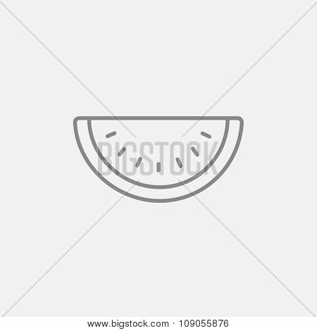 Watermelon line icon for web, mobile and infographics. Vector dark grey icon isolated on light grey background.
