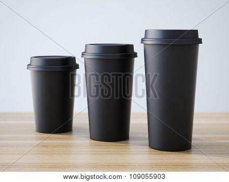 Three black cups