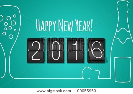 Happy New Year 2016- Turquoise Flat Design Background