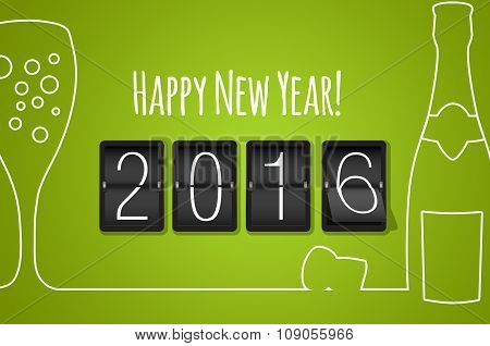 Happy New Year 2016- Green Flat Design Background