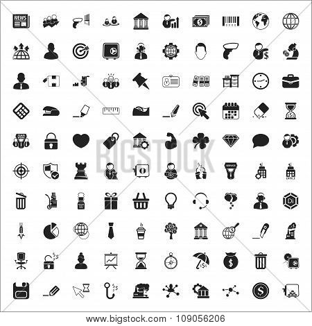 Business 100 Icons Universal Set For Web And Mobile Flat