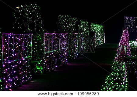 Alley Of Colorful Christmas Lights