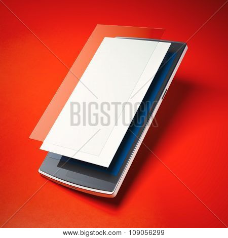 Modern smart phone with layers of blank screen and glass.