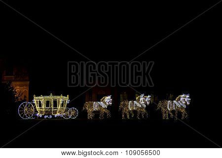 Horses With Carriage Made By Christmas Lamps