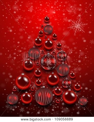 Christmas background red with shiny balls. Vector illustration.