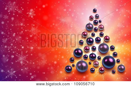 Christmas background with christmas tree from shiny balls. Vector illustration.