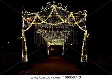 Arch With Canopy Of Christmas Lights