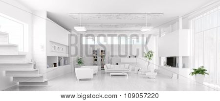 Interior Of Modern White Living Room Panorama 3d rendering