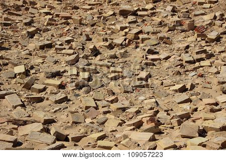 Birdseye On Clay Building Brick Tiles In Sand