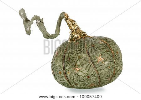 Exclusive Handmade Toy In The Form Of Green Pumpkin, Isolated On White Background