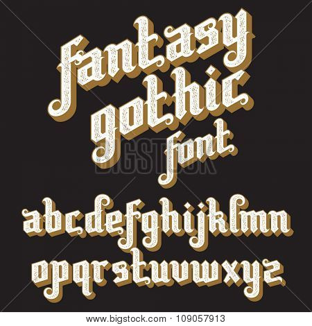 Fantasy Gothic Font. Retro vintage alphabet. Custom type letters on a dark background. Stock vector typography for labels, headlines, posters etc.