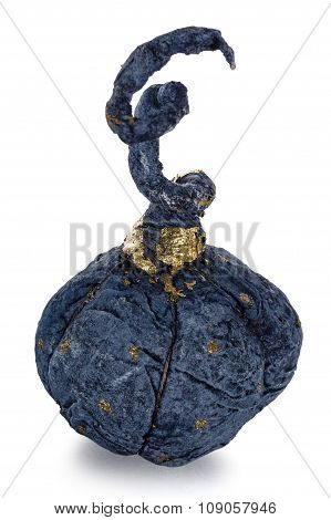 Exclusive Handmade Toy In The Form Of Blue Pumpkin, Isolated On White Background