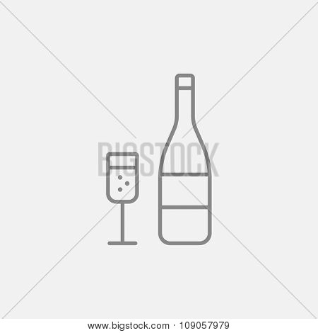 Bottle of champaign and glass line icon for web, mobile and infographics. Vector dark grey icon isolated on light grey background.