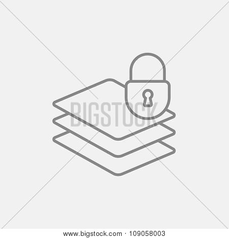 Stack of papers with lock line icon for web, mobile and infographics. Vector dark grey icon isolated on light grey background.