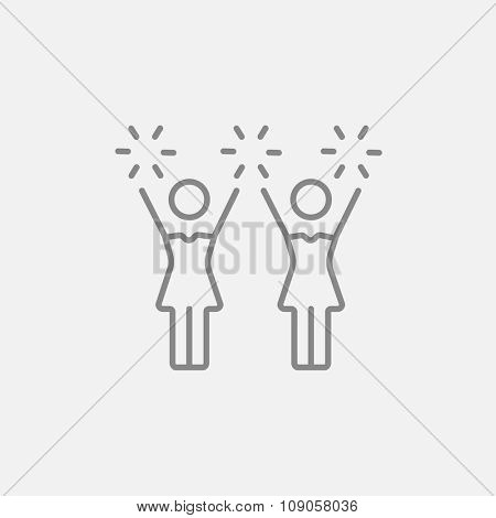 Cheerleaders line icon for web, mobile and infographics. Vector dark grey icon isolated on light grey background.