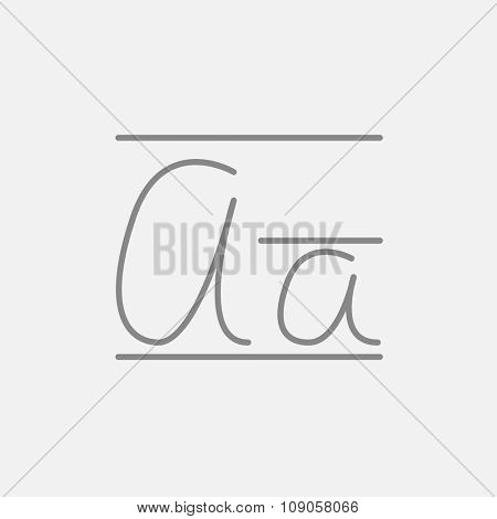 Cursive letter a line icon for web, mobile and infographics. Vector dark grey icon isolated on light grey background.