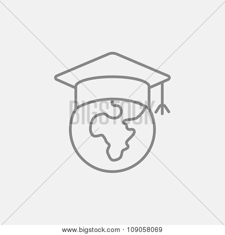 Globe in graduation cap line icon for web, mobile and infographics. Vector dark grey icon isolated on light grey background.
