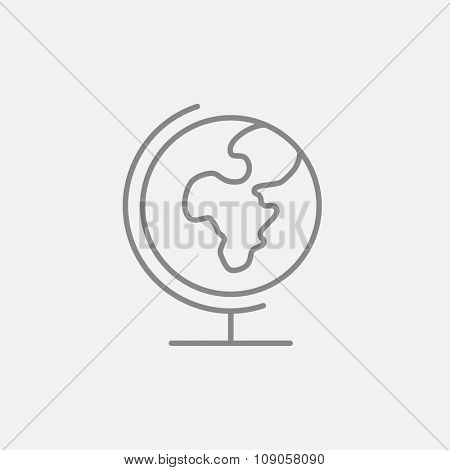 World globe on stand line icon for web, mobile and infographics. Vector dark grey icon isolated on light grey background.
