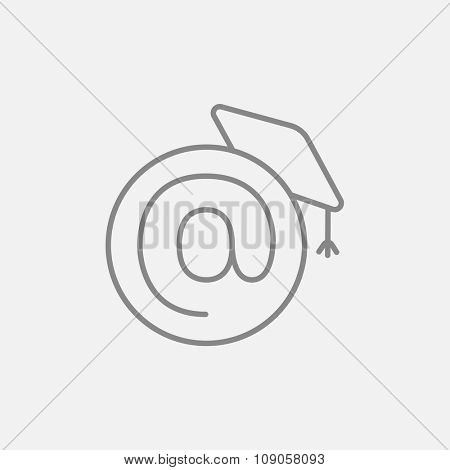 Graduation cap with at sign line icon for web, mobile and infographics. Vector dark grey icon isolated on light grey background.