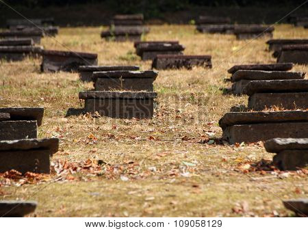 Headstones At Ancient Moravian Graveyard In Backlight