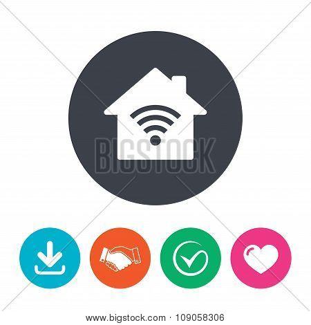 Home Wifi sign. Wi-fi symbol. Wireless Network.
