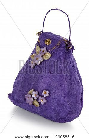 Exclusive Handmade Toy In The Form Of Purple Handbag, Isolated On White Background