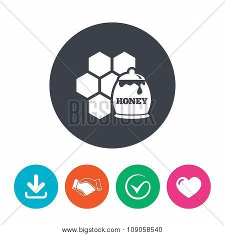 Honey in pot and honeycomb sign icon.