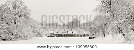 Central Park panorama winter in midtown Manhattan New York City