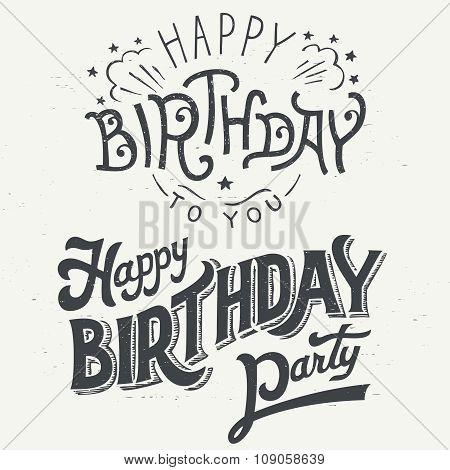 Happy Birthday Hand Drawn Typography Design Set