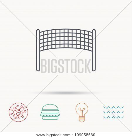 Volleyball net icon. Beach sport game sign.