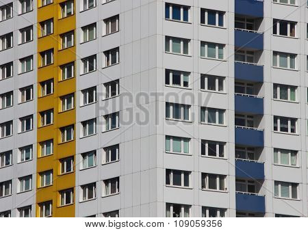 Apartment Building Facade With Colors In Perspective