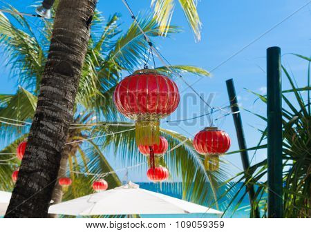 Chinese Lanterns On Beach