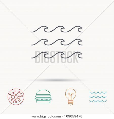 Waves icon. Sea flowing sign.