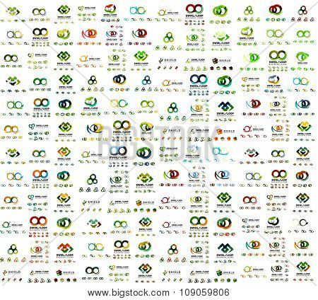 Mega set of infinity and loop business logos. corporate branding icons