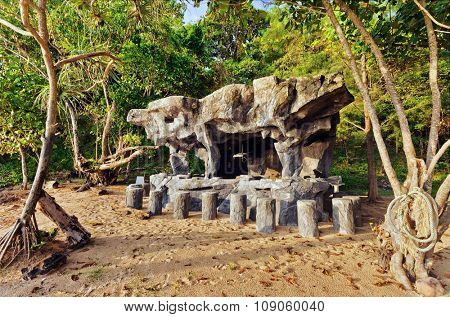 Original stones beach bar on jungle background. Thailand