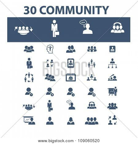 community, human resources, management icons, signs vector concept set for infographics, mobile, website, application