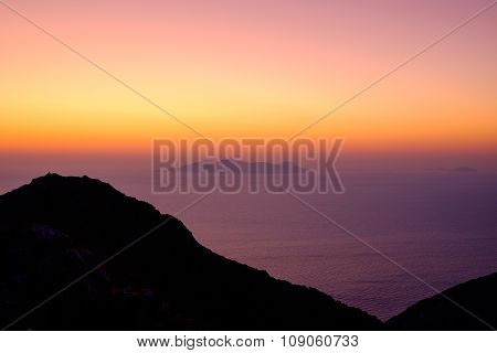 Landscape View Of Beautiful Colorful Sunrise Above The Ocean