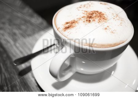 Cappuccino, Cup Of Coffee With Milk And Cinnamon