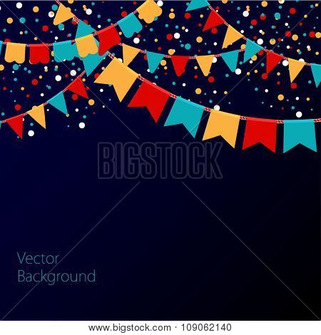 Vector illustration of night sky with colorful flags garlands. Holiday background with place for text.