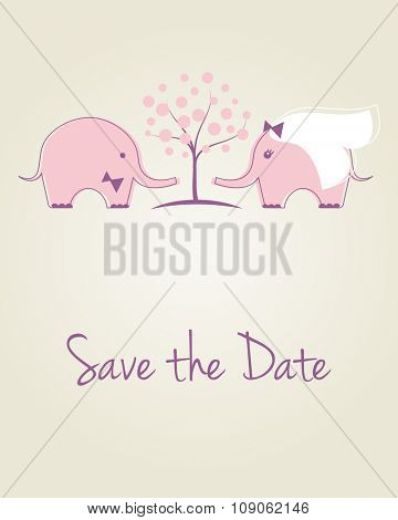 Wedding card with two cute pink elephants