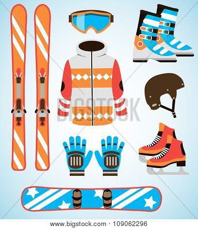 Vector set of Ski and Snowboard equipment icons. Winter sports