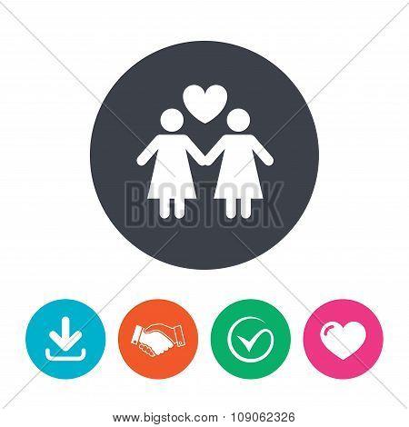 Couple sign icon. Woman love woman. Lesbians.