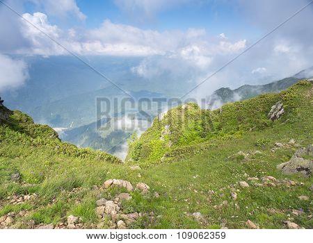 Mountain landscape day Rosa Khutor in Krasnaya Polyana in the summer