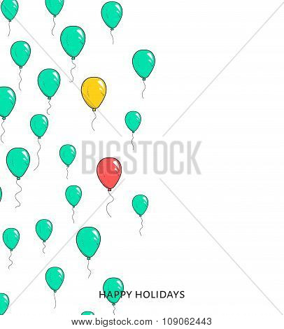 Festive card with balloons. Departing spheres.
