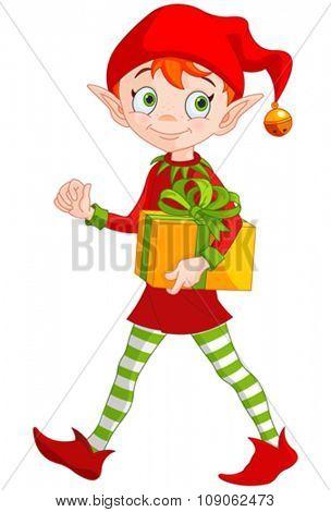 Illustration of cute Christmas elf holds gift